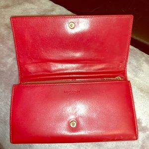 Saint Laurent Red Leather Wallet